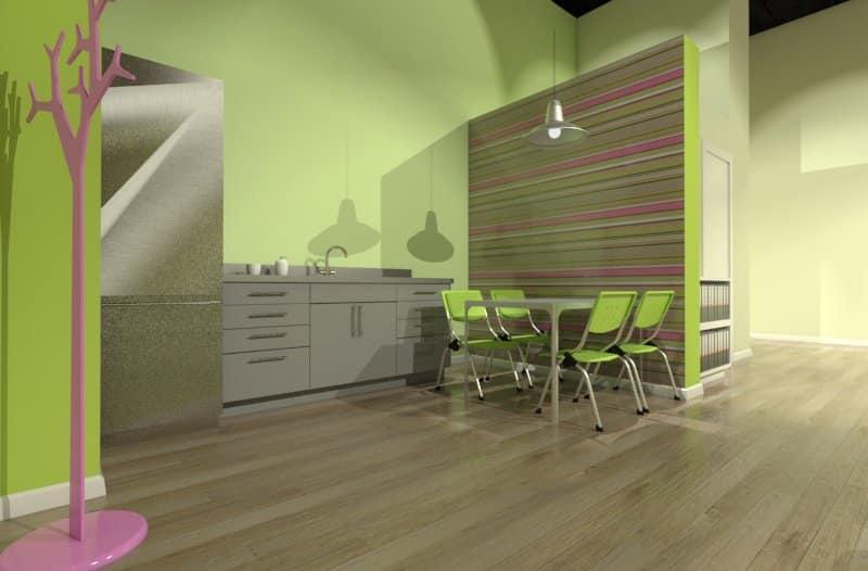 משרד מעוצב בצבע ירוק וורוד