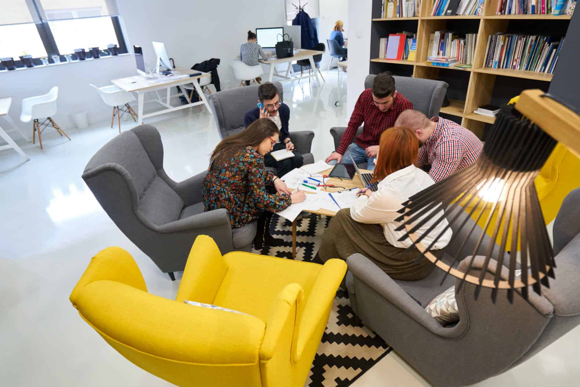 Employees in a designed office