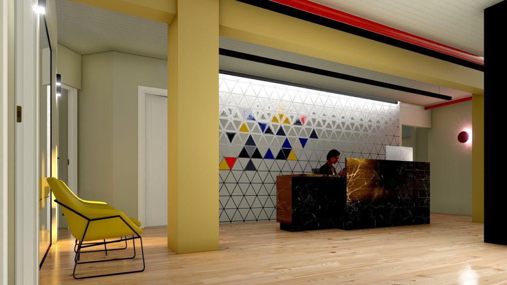 עיצוב לובי לקומת המשרדים אגית טכנולוגיות אורנה ברקת